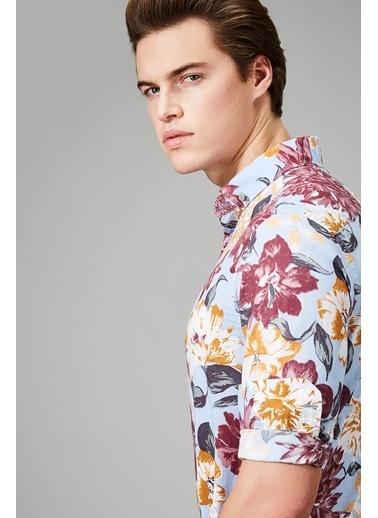 Çiçek Desenli Uzun Kollu Gömlek-Avva
